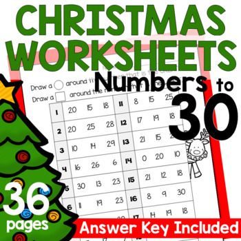 Numbers to 30 Worksheets - Christmas