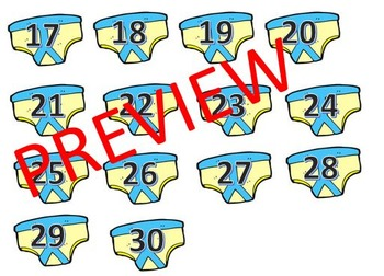 Numbers to 30 on pants - editable