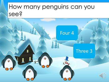 Numbers to 5 Spot the Penguin {Interactive PPT Game}