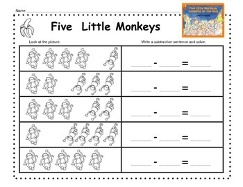 Numbers to 5 with Five Little Monkeys Jumping on the Bed