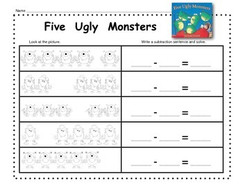 Numbers to 5 with Five Ugly Monsters