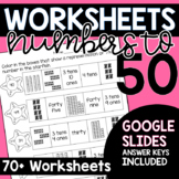 Math Worksheets for Numbers to 50 with Google Slides