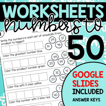 Numbers To 50 Worksheets Winter By Hanging Around In Primary Tpt
