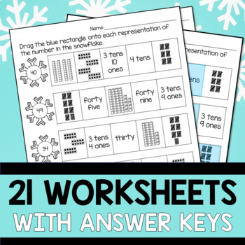 Numbers to 50 Worksheets - Winter