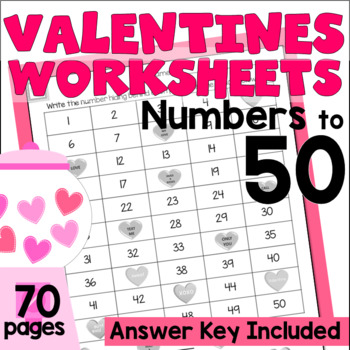 Numbers to 50 Worksheets - Valentines