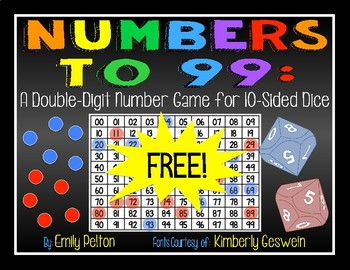 Numbers to 99: A Double Digit Number Game for 10-Sided Dice (K-2) [tens / ones]