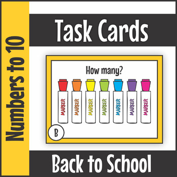Numbers to Ten Back to School Task Cards SCOOT