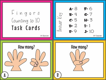 Numbers to Ten Fingers Task Cards SCOOT