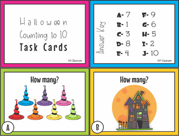 Numbers to Ten Halloween Task Cards SCOOT