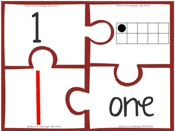 Numbers to Ten Puzzles {Digit, Numeral, Ten frame & Tally Mark Matching}
