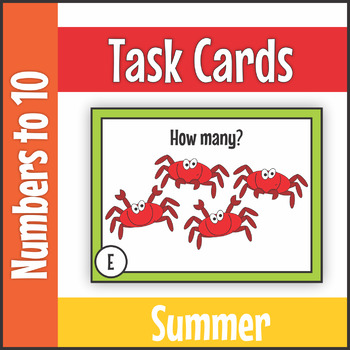 Numbers to Ten Summer Task Cards SCOOT
