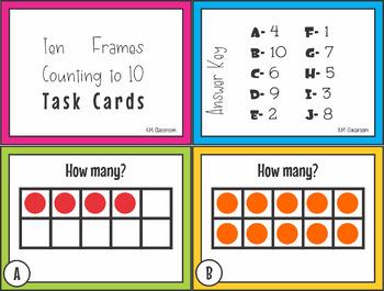 Numbers to Ten Ten Frames Task Cards SCOOT