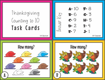 Numbers to Ten Thanksgiving Task Cards SCOOT