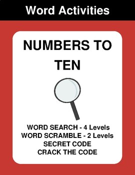 Numbers to Ten - Word Search, Word Scramble,  Secret Code,  Crack the Code