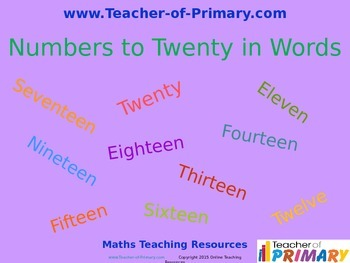 Numbers to Twenty in Words