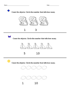 Numbers to ten assessment
