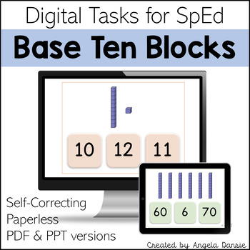 Numbers with Base Ten Blocks | Place Value | Digital Tasks for Special Education
