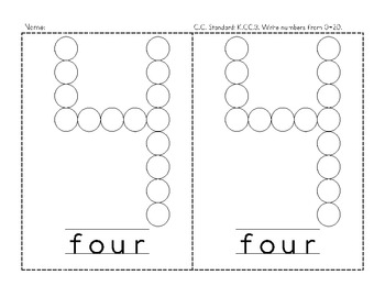 Numbers with Bingo Markers 1-5