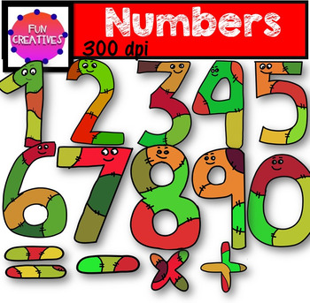 Numbers with Eyes Clip Art