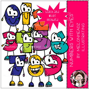 Numbers with Eyes clip art - COMBO PACK
