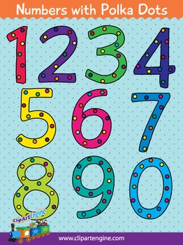 Numbers with Polka Dots Clip Art