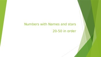 Numbers with words and stars 21-50