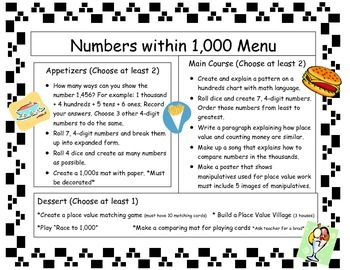 Numbers within 1,000 Math Menu