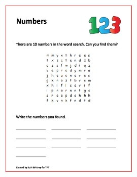 Numbers word search