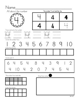 Numbers1-10 - Printing, Identifying, Counting Practice, and Base Ten