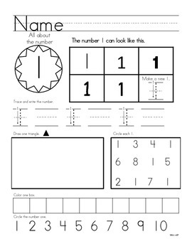 Numbers1-10 - Printing, Identifying, and Counting Practice