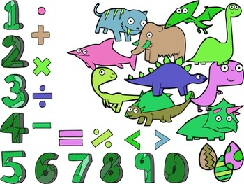 Numbersaurs! [Dinosaur Clip Art & Numbers] 4 Colored Themes + Line Art