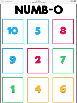 Numbo cards fact game