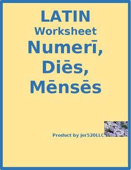 Numerī, Diēs, Mēnsēs (Numbers, Days, Months in Latin) worksheet