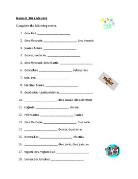 Numerī, Diēs, Mēnsēs (Numbers, Days, Months in Latin) worksheet