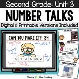 Second Grade Number Talks - Unit 3 (DIGITAL and Printable)