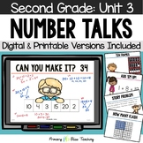 Second Grade Paperless Number Talks - Unit 3 (DIGITAL and Printable)