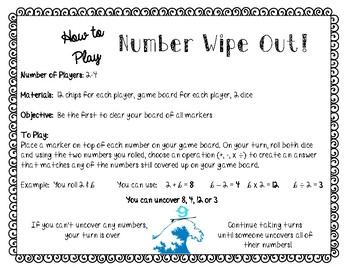 Numer Wipeout! A Math Fact Fluency, Critical Thinking, Strategy Game