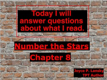 Number the Stars Literary Unit or Chapters 8 & 9 on Promethean Board