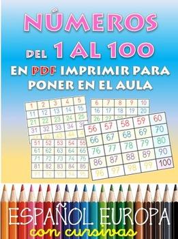 Numeracion de 1 a 100 para el aula. 4 paginas A4 para plastificar.