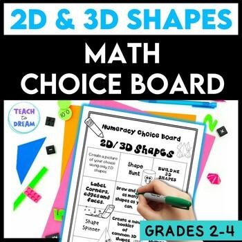 Math Choice Board: 2D and 3D Shapes, Tasks, Activities & Worksheets