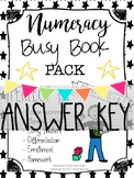 Numeracy Math Busy Book PACK Years 1&2 NUMBERS 1-20 ANSWER KEY