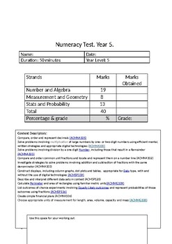 Numeracy/Maths Practice Test Paper - Year 5 - Curriculum Standards Attached!