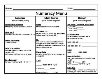 Numeracy Menu