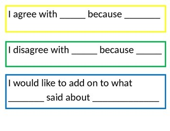 Numeracy Sentence Stems CCSS aligned