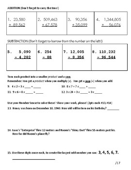 Numeracy Test Grades 5 or 6