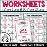 One More, One Less, Ten More, Ten Less Worksheets - Differentiated