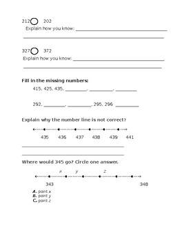 Numeracy to 500 Quiz (compose, decompose, rename, ordering numbers)