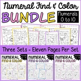 Numeral Find and Color Worksheets 0 to 10 Bundle