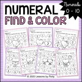 Numeral Find and Color Worksheets 0 to 10 with Hearts