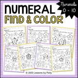 Numeral Find and Color Worksheets 0 to 10 with Stars